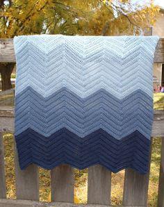 Ombre Blue Chevron Crochet Baby Afghan Blanket by BluebirdBlvd, $50.00
