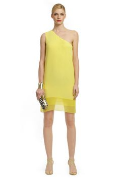 #Tibi #yellow one shoulder dress