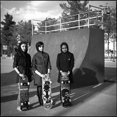 Iranian skateboarders wearing mandatory veils and long sleeves by Mathias Zwick [942x942]