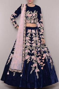 Buy midnight blue with hegemonic embroidery & resham work designer lehenga choli online.This set is features a midnight blue blouse in velvet embroidery and sequins work.It has matching midnight blue lehenga in velvet with beautiful embroidery all ove Bridal Lehenga Online, Designer Bridal Lehenga, Bridal Lehenga Choli, Lehenga Wedding, Indian Bridal Outfits, Indian Designer Outfits, Wedding Outfits, Choli Designs, Lehenga Designs