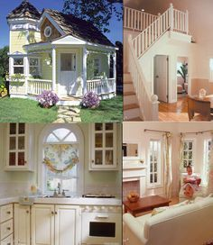 Victorian Playhouse Rich people are freaking weird! I'd like to live in a house as nice as this kids Backyard Playhouse, Build A Playhouse, Childs Playhouse, Playhouse Interior, Girls Playhouse, Playhouse Ideas, Cubby Houses, Play Houses, Casa Kids