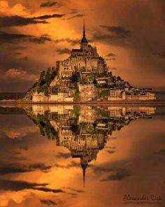Golden Stronghold over Mont Saint Michel :: Normandy :: France _by Alexander Riek Mont Saint Michel France, Le Mont St Michel, Beautiful Castles, Beautiful World, Beautiful Places, Paris Travel, France Travel, Places To Travel, Places To See