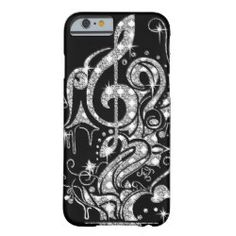 Diamond Bling Music Note Design on Classy Black Barely There iPhone 6 Case