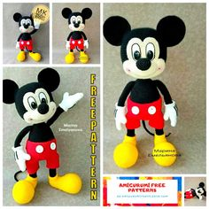 Mickey Mouse Amigurumi Free Pattern - En.amigurumitariflerim.com Mickey Mouse Doll, Crochet Mickey Mouse, Crochet Disney, Doll Amigurumi Free Pattern, Crochet Doll Pattern, Amigurumi Toys, Doll Patterns Free, Crochet Amigurumi Free Patterns, Free Crochet