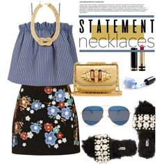 Collared! Statement Necklaces by hamaly on Polyvore featuring Luisa et la Luna, Topshop, Miu Miu, Swarovski, Christian Dior, Gucci, ootd, outfitideas, statementnecklaces and waystowear
