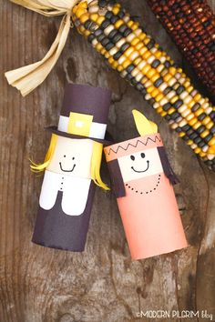 Thanksgiving Kids Craft - Pilgrim and Indian dolls from toilet paper rolls.