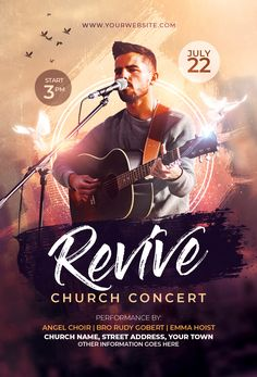 Buy Church Concert Flyer by Jensanity on GraphicRiver. Features Very easy to edit Photoshop template. Graphic Design Flyer, Church Graphic Design, Event Poster Design, Web Design, Church Design, Flyer Design Templates, Brochure Design, Event Poster Template, Flyer Template