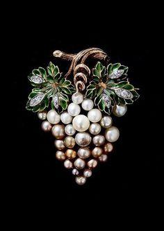 Antique Plique-a-Jour Enamel and Natural Pearl Grape Cluster Brooch.