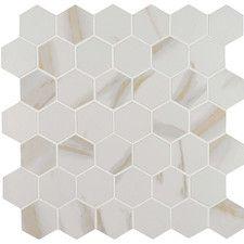 MSI Calacatta Hexagon 12 in. x 12 in. x Porcelain Mesh-Mounted Mosaic Tile sq. / - The Home Depot MSI Calacatta Hexagon 12 in. x 12 in. x Porcelain Mesh-Mounted Mosaic Tile sq. White Mosaic Tiles, Marble Mosaic, Shower Floor Tile, Shower Grout, Bath Shower, Thing 1, Kitchen Flooring, Kitchen Backsplash, Tile Patterns