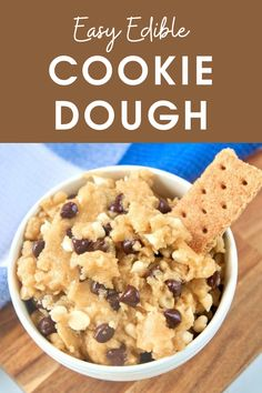 Simple Cookie Dough Recipe, Vegan Cookie Dough, Cookie Dough Recipes, Edible Cookie Dough, Apple Dessert Recipes, Sweets Recipes, Easy Desserts, Delicious Desserts, Vegan Dishes