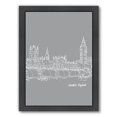 Americanflat Skyline London 2 by Brooke Witt Framed Graphic Art in Gray   AllModern