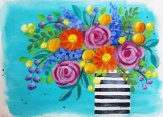 Learn how to paint EASY Roses and Daisies! Boho Flower Vase Acrylic Painting Tutorial by Angela Anderson. Learn step by step with easy to follow instructions...