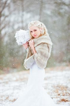 Southern Weddings - Winter Bridal Session in the Snow - Asheville, NC - Pasha Belman Photography