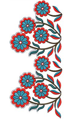 New Neck Embroidery Design 20290 Border Embroidery Designs, Embroidery Suits Design, Machine Embroidery Designs, Embroidery Patterns, Hand Embroidery Flowers, Lace Embroidery, Saree Painting, Flower Silhouette, Pattern Art
