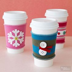 reusable coffee cup sleeves made from socks/felt/buttons, cute!