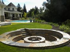 Good info:Many communities require a minimum of a 10-foot distance from your house and neighbors' yards. Some don't require a permit if the fire pit fits within set size requirements; others require a site inspection from local fire officials to make sure your proposed location is safe. Check before you start...