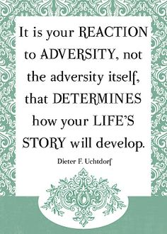 Reactions to adversity craft your life's story.