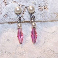 Vintage Silver Tone Faux Pearl & Pink Crystal? Dangle Screw On Earrings