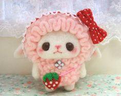 Kawaii mini bunny in strawberry suit