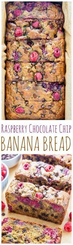 Healthy Raspberry Chocolate Chip Banana Bread Recipe via Baker by Nature - Healthy and Supremely moist Banana Bread studded with fresh raspberries and chocolate chips.
