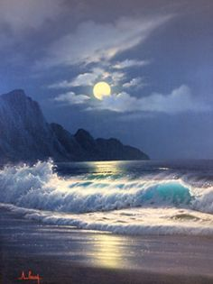 Moonlight 1970 by Anthony Casay, Original Painting, Oil on Canvas Ocean Scenes, Beach Scenes, Seascape Paintings, Landscape Paintings, Painting Canvas, Ocean Paintings On Canvas, Oil On Canvas, Canvas Prints, Beautiful Paintings