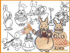 BUNNY & CHICK #SH365 - tons of vintage embroidery patterns on Pattern Bee