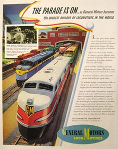 1941 GM Locomotive Train Ad ~ The Parade Is On