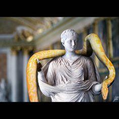 #ancient #statue #snake #albino #python #artwork #art