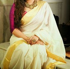 Uppada White Color plain Silk Saree with Gold by UppadaPattu