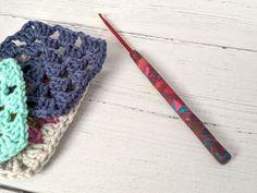 Crochet hook, size (US size polymer clay Fimo covered aluminium hook Crochet Hook Sizes, Crochet Hooks, Crochet Gifts, Dark Red, Polymer Clay, Unique, Cover, Pretty, Pattern