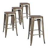 #ad LCH 30-Inch Metal Industrial Bar Stools, Indoor/Outdoor Counter Stackable Barstool with Wood Seat, Set of 4, Antique Copper  These coounter height stools come fully assembled, and are stackable. Easy to transport and store.These Vintage Style Bar Stools add a classic touch to your kitchen, restaurant, office, patio or bistro area. Wooden flat seats are easy to wipe clean.   Product Specifications:   Material: Metal Dimensions: 16.9''L x 16.9''W x 30.0''H Stackable: Yes Back..