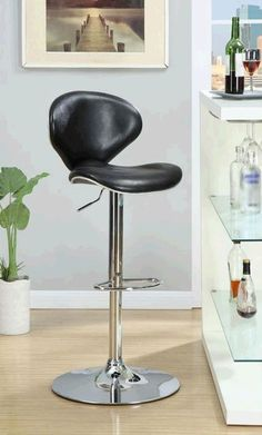 The Gresham Adjustable Barstool offers contemporary styling for a modern look. Its clean and curvy lines are accentuated by the Black Bonded Leather. The unique shape features a slightly winged back and seat that offers a comfortable spot to enjoy a cold drink and good conversation.