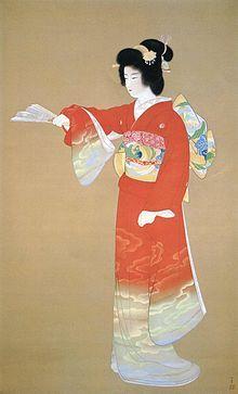 【上村松園】『序の舞』(1936年〔昭和11年〕)。1965年(昭和40年)発行の切手趣味週間の図案に採用されている。