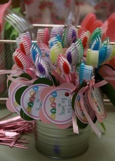 Tooth brushes as sleepover party favors Slumber Party Favors, Sleepover Birthday Parties, Spa Birthday, 10th Birthday, Birthday Ideas, Sleepover Crafts, Sleepover Activities, Slumber Party Invitations, Girls Slumber Parties