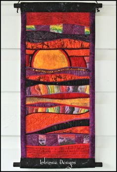 SUNSET Quilted Fabric Abstract Wall Art, Embroidered with Gemstones. $95.00, via Etsy.