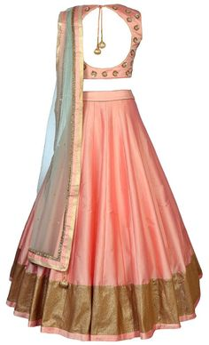 Peach silk lehenga choli, indian bridesmaids outfit,Indian wedding ghagara gold embroidered blouse, peach crop top and skirt, mehendi outfit Choli Designs, Lehenga Designs, Blouse Designs, Dress Designs, Indian Lehenga, Silk Lehenga, Lehenga Skirt, Anarkali Dress, Indian Bridesmaids