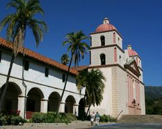 The Old Mission, Santa Barbara, California  Went to Westmont College.  I love Santa Barbara!!!