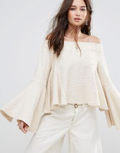 Moon River Bell Sleeve Off Shoulder Top - White