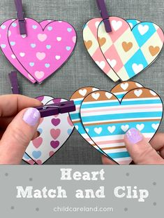 Heart match and clip for visual discrimination and fine motor skills. Early Learning Activities, Sequencing Activities, Motor Activities, Michaels Craft, Paper Hearts, Heart Patterns, Craft Stick Crafts, Fine Motor Skills, Craft Stores
