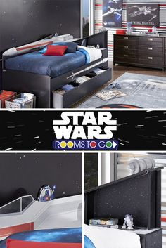 Create your own galaxy! The X-wing™ twin bookcase bed can handle anything the Empire throws at you! Shop Star Wars beds now at roomstogokids.com.