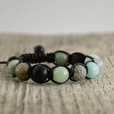 Black and mint shamballa bracelet. Yoga jewelry by SinonaDesign on Etsy