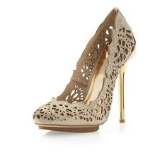 Peacock Cutout Embellished Pumps