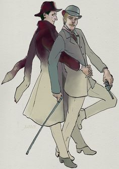 Holmes and Watson by traumjanos on DeviantArt Sherlock Bbc, Detective Sherlock Holmes, Sherlock Fandom, Johnlock, Jeremy Brett, John Watson, Otp, Clever, Fanart