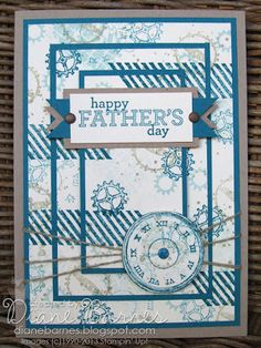 Di Barnes - colour me happy: Triple layer for Father's Day with Stampin Up Gorgeous Grunge, Clockworks & Delightful Dozen stamps