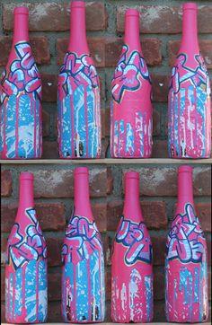 Spray Painted Wine bottles