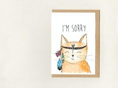 I'M SORRY . greeting card . boho cat . custom card . personalised card . cute sorry card .