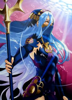 aqua (fire emblem if) blue hair dress elbow gloves face mask fingerless gloves fire emblem fire emblem cipher fire emblem if gloves hair between eyes hairband highres holding holding weapon jewelry kozaki yuusuke long hair mask necklace polearm see-t Character Concept, Character Art, Character Design, Fire Emblem Characters, Fantasy Characters, Fire Emblem Wallpaper, Fire Emblem Azura, Creepypasta Anime, Fire Powers