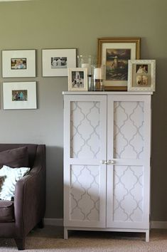 Like the pattern concept. Furniture Makeover Idea - White