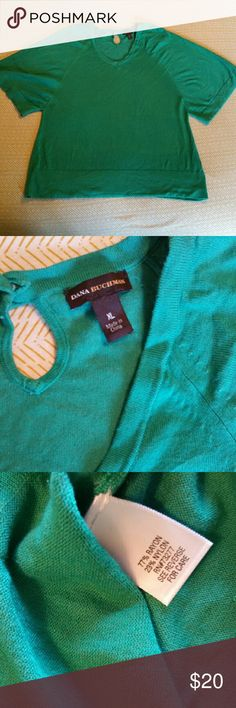Green short sleeved sweater Green short sleeved sweater shirt/blouse in excellent condition. Dana Buchman Tops Blouses