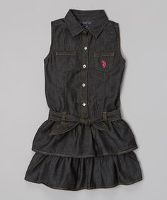 Look what I found on #zulily! Denim Ruffle Button-Up Dress - Girls #zulilyfinds